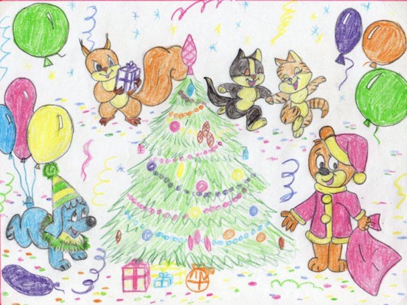 Рисунок новый год детский карандашом
